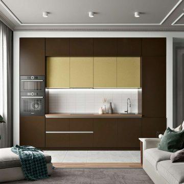 Кухня прямая, AGT матовый коричневый/глянец желтый