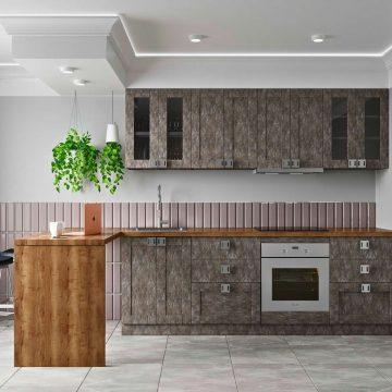 Кухня прямая, Alvic/SYNCRON матовый, серый графит