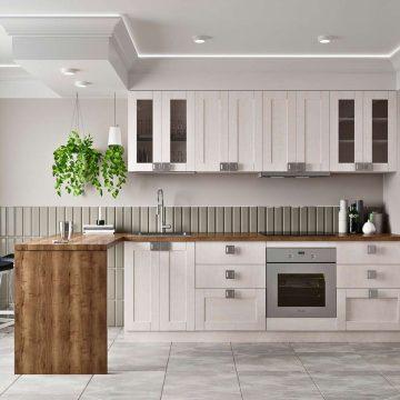 Кухня прямая, Alvic/SYNCRON матовый, светло-серый