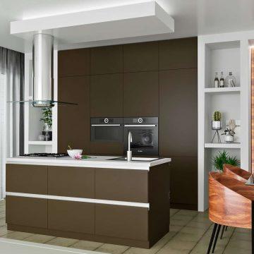 Кухня с островком, AGT матовый, коричневый