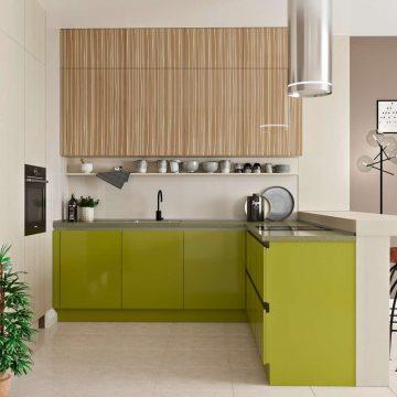 Кухня угловая, AGT глянец, зеленый/светло-коричневый