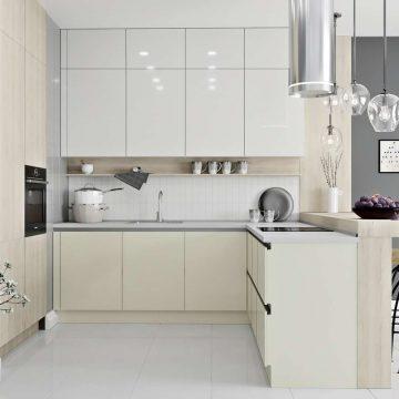 Кухня угловая, AGT глянец белый/матовый молочный