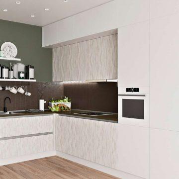 Кухня угловая, Модерн AGT матовый, белый/ кантри серый