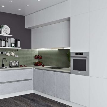 Кухня угловая, Модерн AGT матовый, белый/светло-серый
