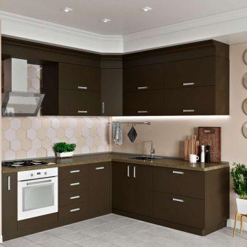 Кухня угловая, AGT матовый, коричневый