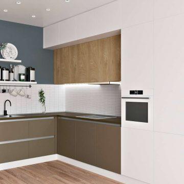 Кухня угловая, Модерн AGT матовый белый/коричневый