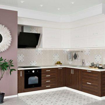 Кухня угловая, Alvic/Egger матовый, белый/древесный