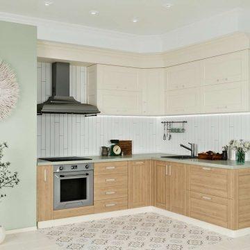 Кухня угловая, Alvic/Egger матовый, магнолия/дуб светлый