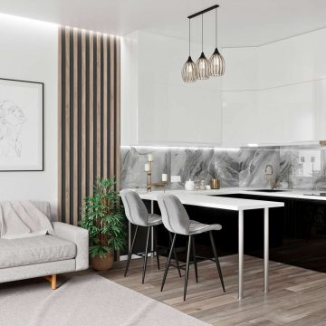 Кухня угловая, Alvic глянец, белый/черный
