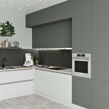 Кухня угловая, Модерн AGT глянец белый/матовый серый