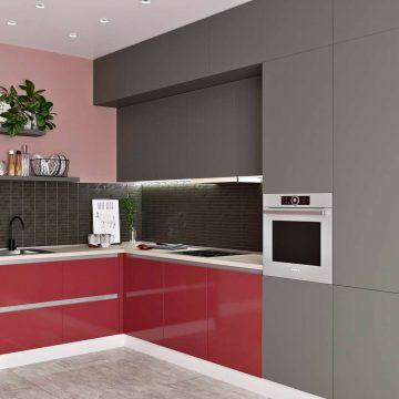 Кухня угловая, Модерн AGT глянец красный/матовый серый
