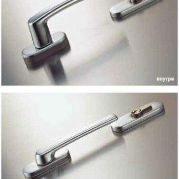 Гарнитур нажимной балконный Rotoline, 30-58 мм, серебро