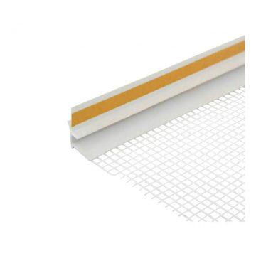 Профиль примыкающий оконный ПВХ с сеткой 6 мм белый 2,4 м