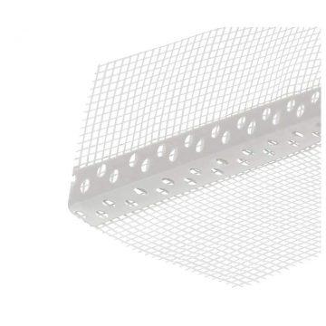 Уголок перфорированный ПВХ с сеткой 100х150 мм белый 2,5 м