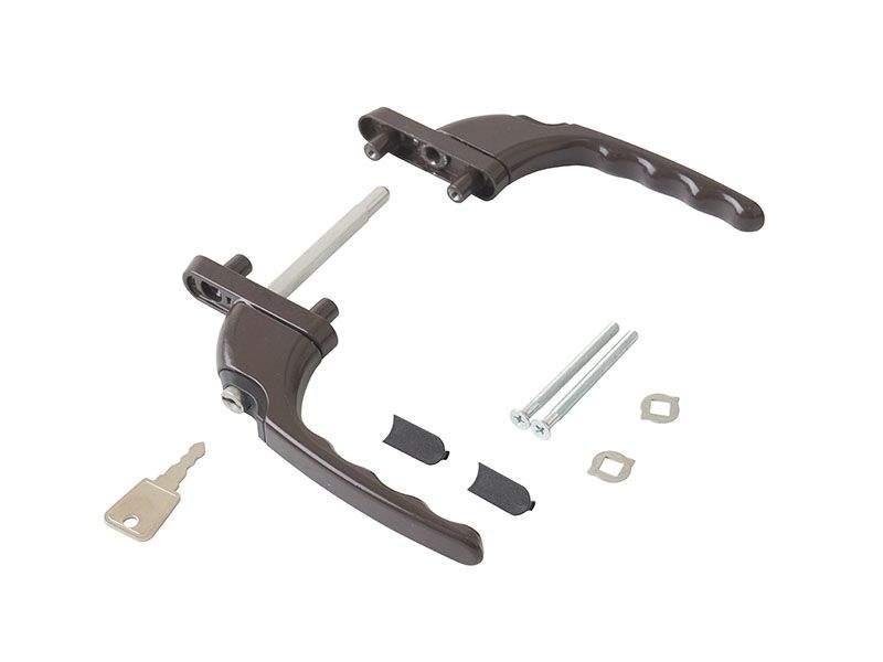 Гарнитур балконный прямой с ключом с одной стороны, коричневый RAL8019 (10 частей)