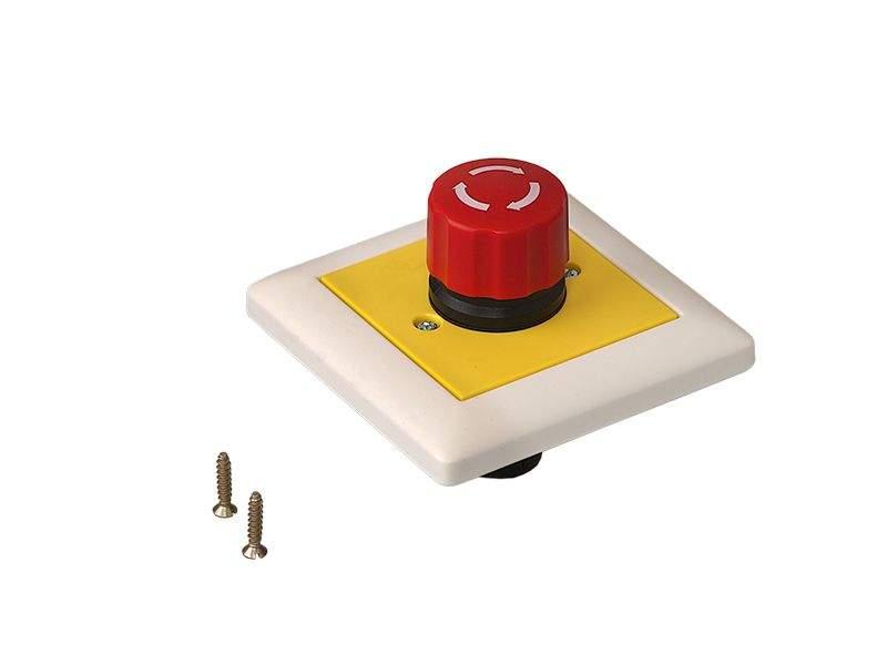 Кнопка аварийной остановки скрытого монтажа 80х80 мм. DOR2047