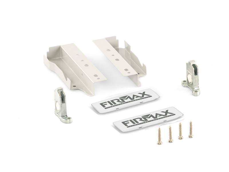 Комплект креплений 135мм (держатели фасада, держатели задней стенки, заглушки) для ящика Firmax Newline, белый. FRM0901.07