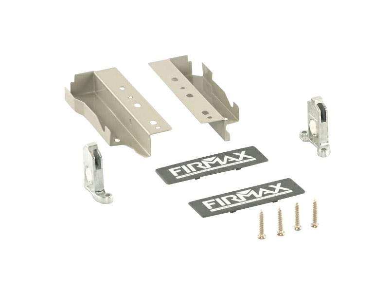 Комплект креплений 135мм (держатели фасада, держатели задней стенки, заглушки, винты) для ящика Firmax Newline, серый. FRM0901.43