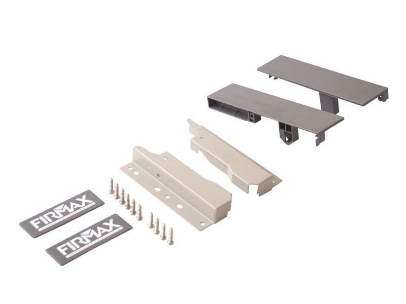 Комплект креплений 135мм (Соединители передней панели, держатели задней стенки, заглушки, винты) для вн. ящика Firmax Newline под 1 рейл., серый. FRM0911.43
