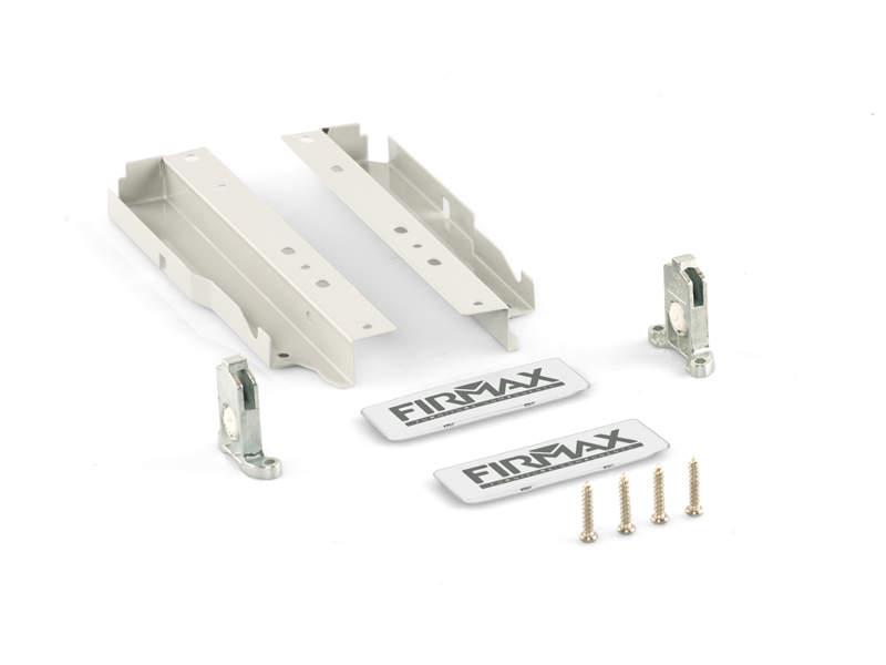 Комплект креплений 199мм (Держатели фасада, держатели задней стенки, заглушки) для ящика Firmax Newline, белый. FRM0902.07
