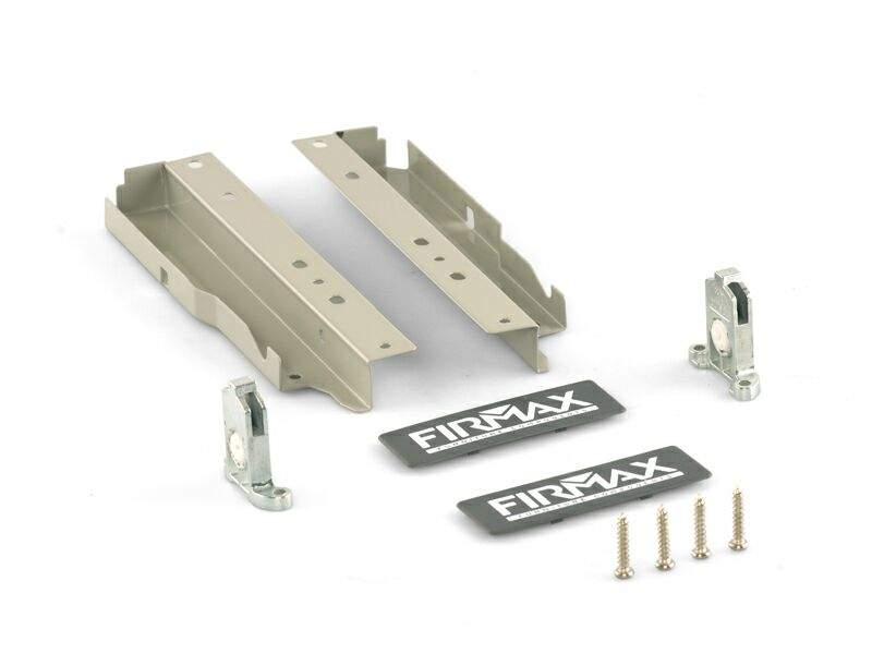 Комплект креплений 199мм (Держатели фасада, держатели задней стенки, заглушки, винты) для ящика Firmax Newline, серый. FRM0902.43
