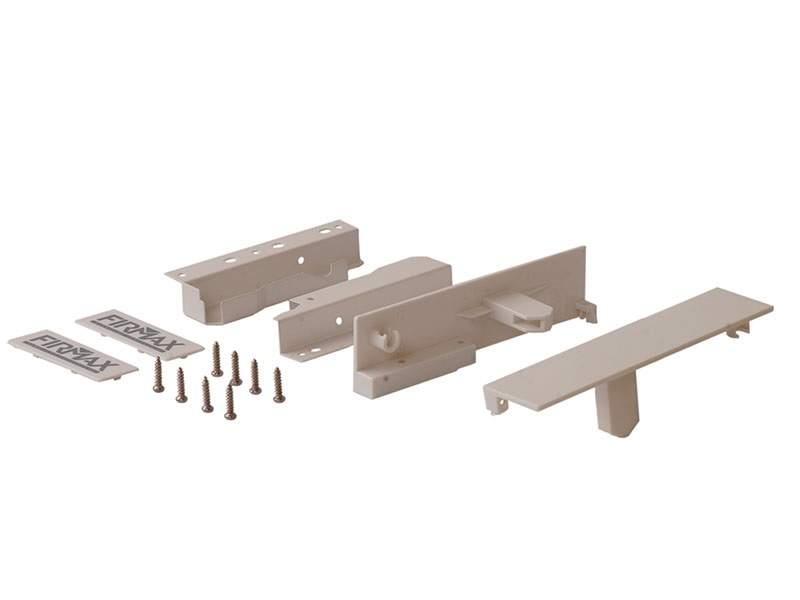 Комплект креплений 199мм (Соединители передней панели, держатели задней стенки, заглушки, винты) для вн. ящика Firmax Newline под 1 рейл., белый. FRM0912.07