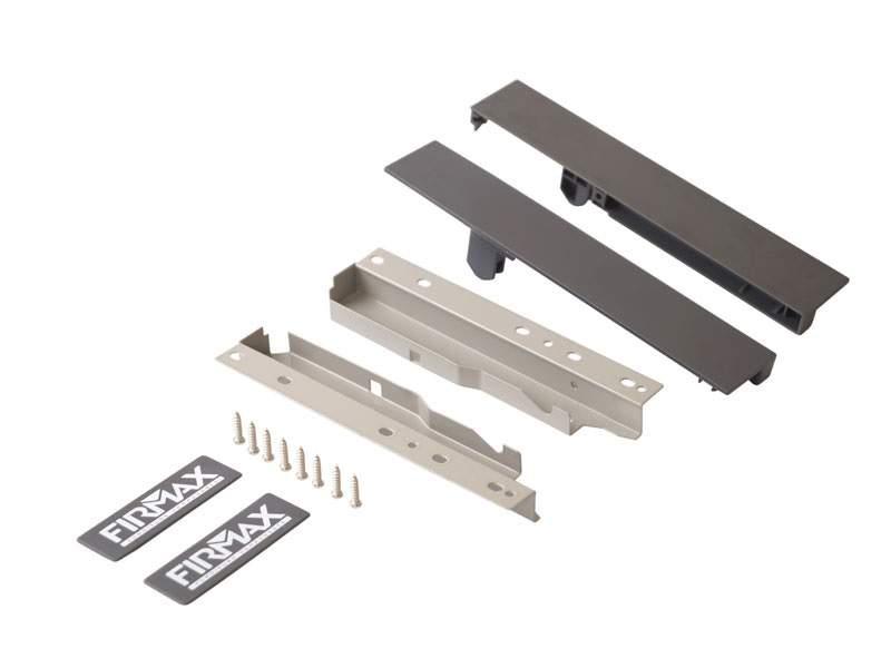 Комплект креплений 199мм (Соединители передней панели, держатели задней стенки, заглушки, винты) для вн. ящика Firmax Newline под 1 рейл., серый. FRM0912.43