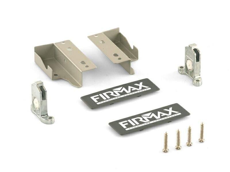 Комплект креплений 84мм (Держатели фасада, держатели задней стенки, заглушки, винты) для ящика Firmax Newline, серый. FRM0900.43