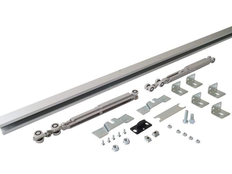 Комплект креплений для сдвижных дверей до 40 кг с системой мягкого закрывания с направляющей 2 м. SIS0003