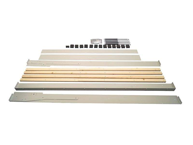 Комплект шкаф-кровати для матраса 2000х1600мм. (металлокаркас, оси вращения,оси крепления, мебельные болты и гайки, винты и петли для ножки,4 газ.лифта, ламеледержатели 68 шт, бруски под ламеледержатели). FRM1110.16