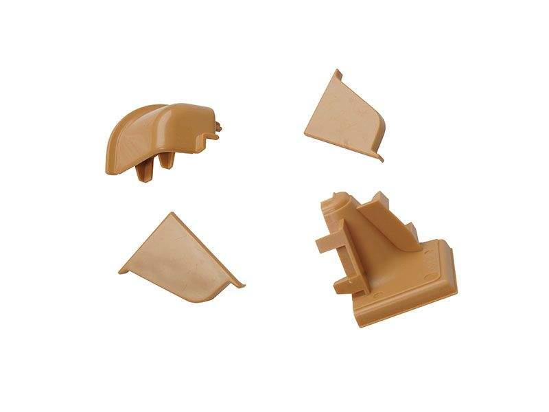 Комплект соединителей овального пристеночного бортика (2 заглушки, 90° внутренний+90° внешний) пластик, бежевый. VER0126/36