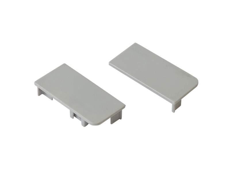 Комплект торцевых заглушек сплошных для верхнего профиля GOLA Alphalux (L+R), пластик, серый. ALF0400.02