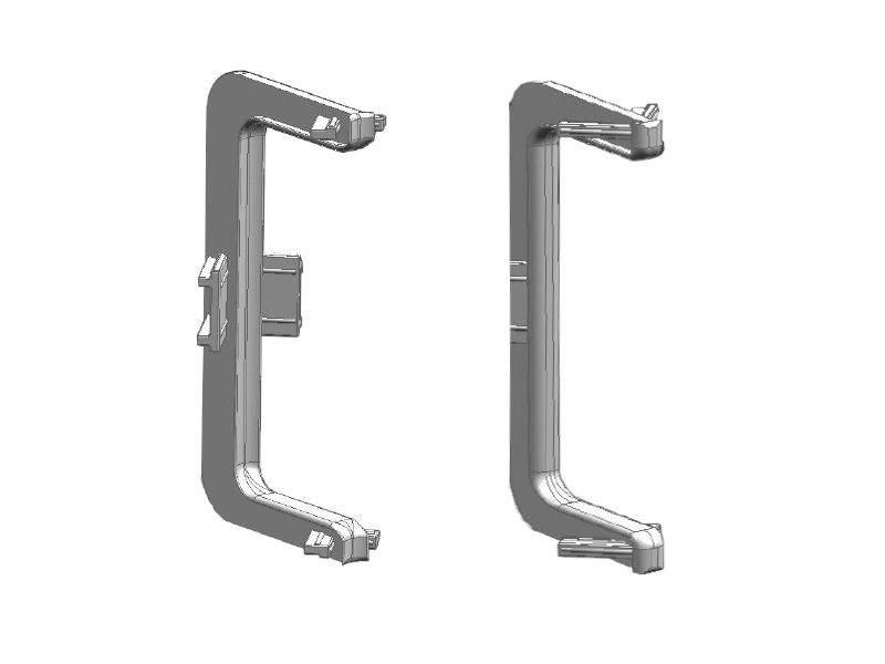 Комплект угловых элементов 90° среднего профиля GOLA Alphalux (внешний+внутренний), пластик, серый. ALF0401.03
