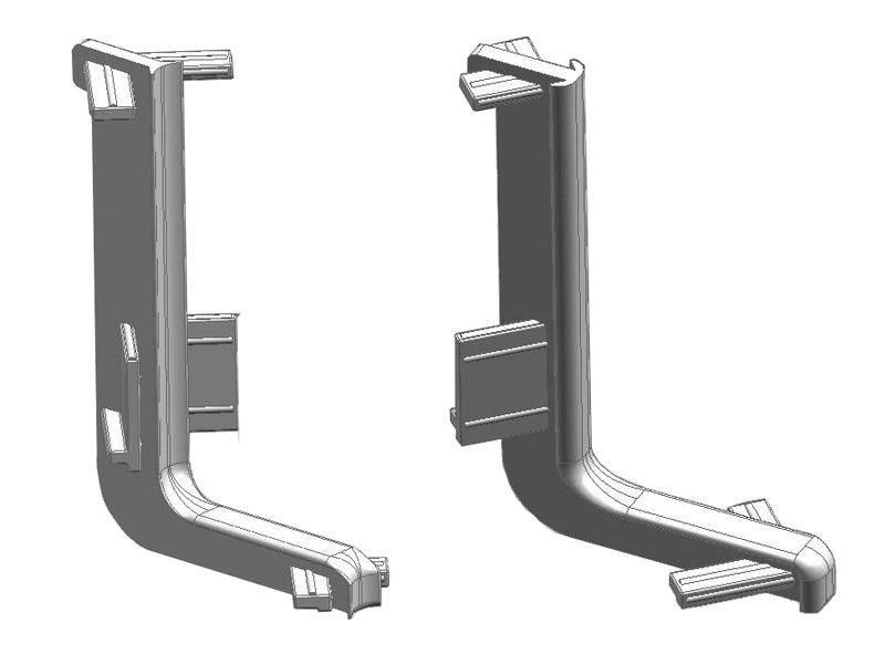 Комплект угловых элементов 90° верхнего профиля GOLA Alphalux (внешний+внутренний), пластик, серый. ALF0400.03
