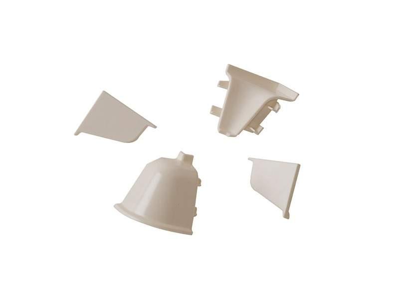 Комплект соединителей овального пристеночного бортика (2 заглушки, 90° внутренний, 90° внешний) пластик, белый. VER0017/36