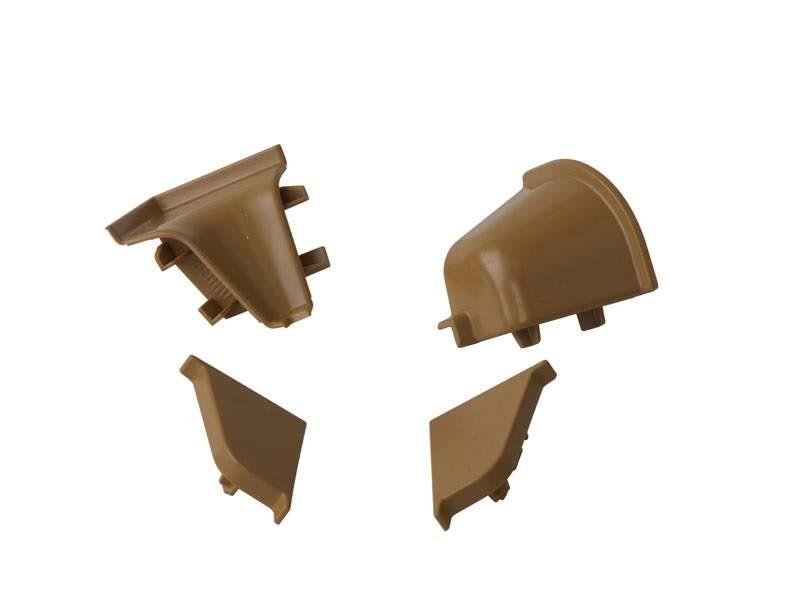 Комплект соединителей овального пристеночного бортика (2 заглушки, 90° внутренний, 90° внешний) пластик, бежевый. VER0121/36