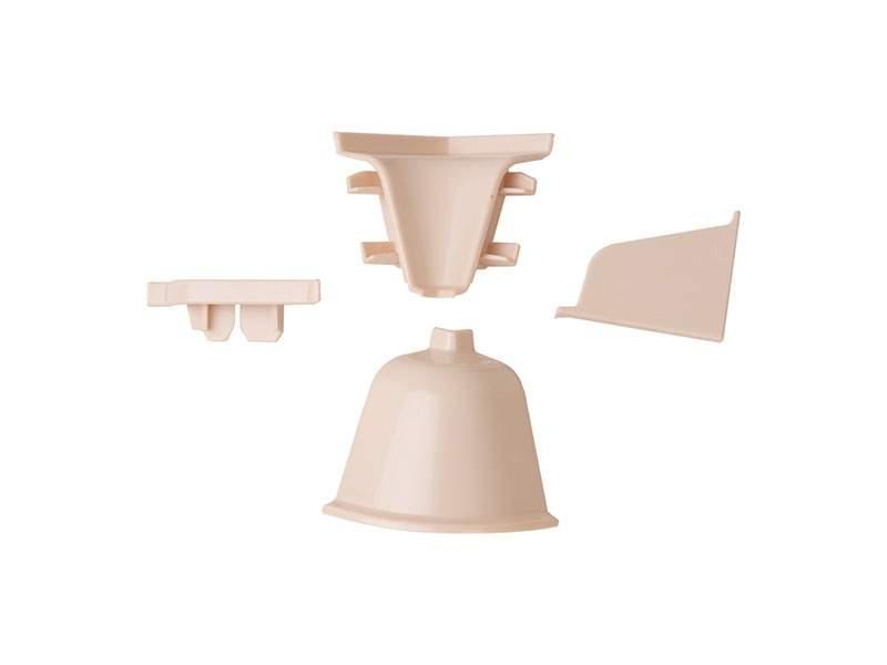 Комплект соединителей овального пристеночного бортика (2 заглушки, 90° внутренний, 90° внешний) пластик, бежевый. VER0012/36