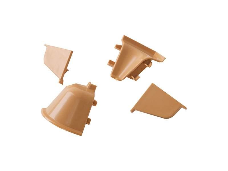Комплект соединителей овального пристеночного бортика (2 заглушки, 90° внутренний, 90° внешний) пластик, бежевый. VER0062/36