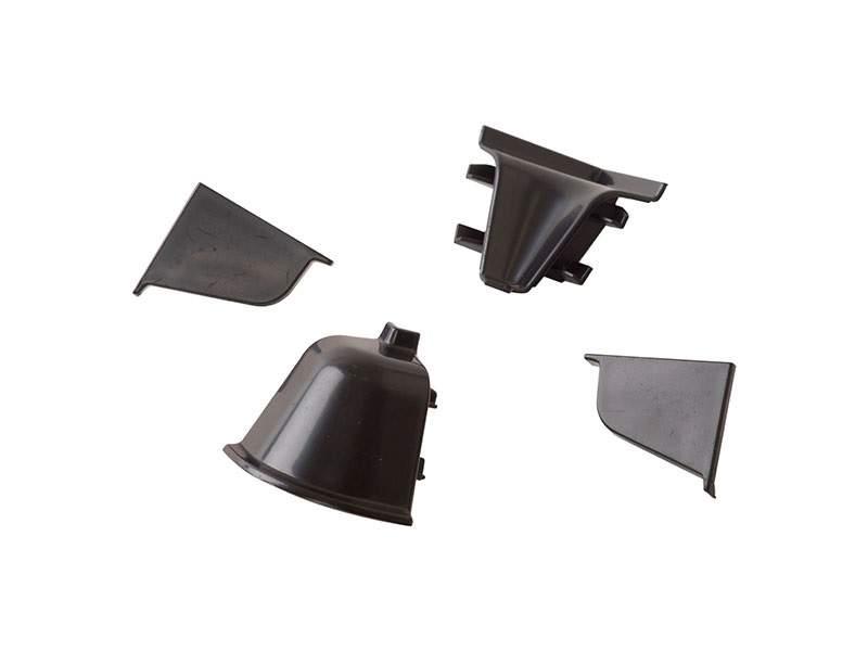 Комплект соединителей овального пристеночного бортика (2 заглушки, 90° внутренний, 90° внешний) пластик, черный. VER0006/36