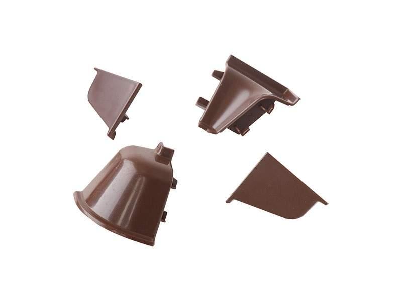 Комплект соединителей овального пристеночного бортика (2 заглушки, 90° внутренний, 90° внешний) пластик, коричневый. VER0018/36