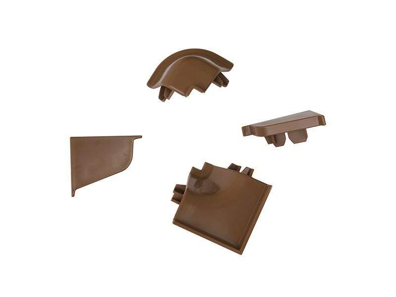 Комплект соединителей овального пристеночного бортика (2 заглушки, 90° внутренний, 90° внешний) пластик, коричневый. VER0044/36