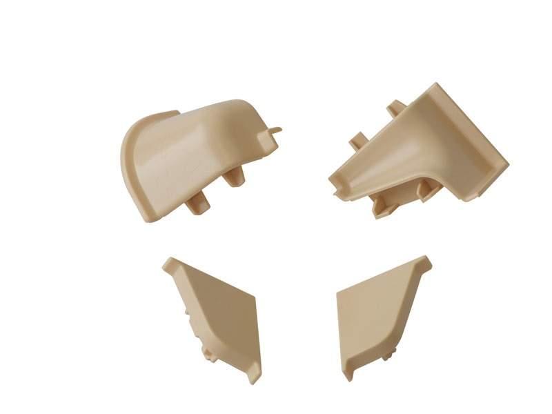 Комплект соединителей овального пристеночного бортика (2 заглушки, 90° внутренний, 90° внешний) пластик, песчаный. VER0008/36