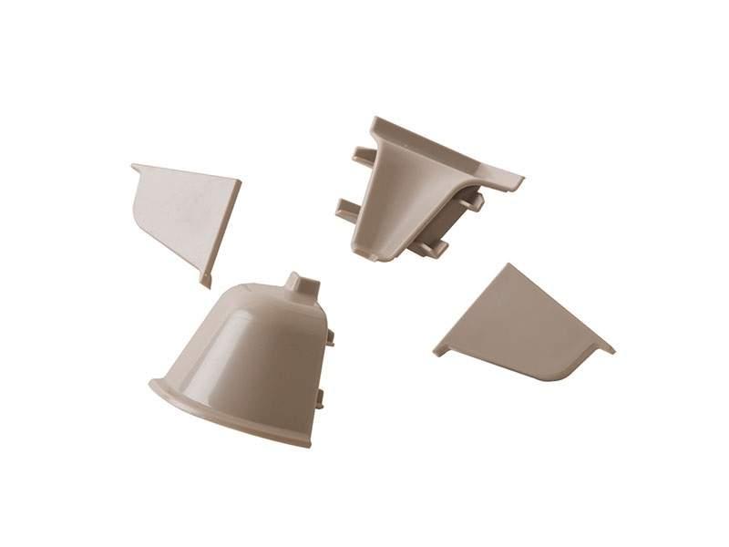 Комплект соединителей овального пристеночного бортика (2 заглушки, 90° внутренний, 90° внешний) пластик, серый. VER0010/36