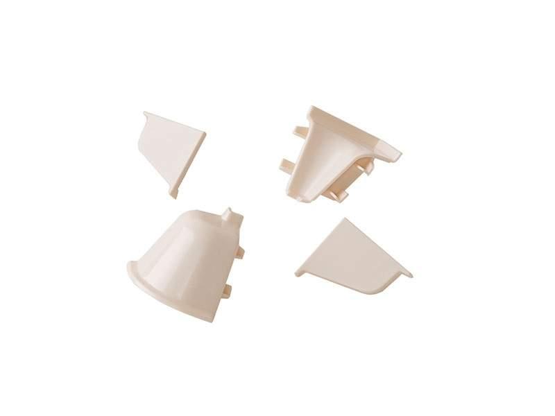 Комплект соединителей овального пристеночного бортика (2 заглушки, 90° внутренний, 90° внешний) пластик, шампань. VER0014/36