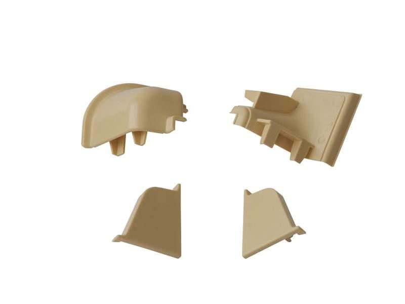 Комплект соединителей овального пристеночного бортика (2 заглушки, 90° внутренний, 90° внешний) пластик, слоновая кость. VER0013/36