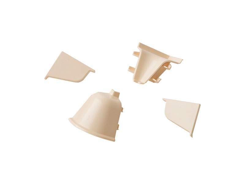 Комплект соединителей овального пристеночного бортика (2 заглушки, 90° внутренний, 90° внешний) пластик, светло-бежевый. VER0027/36