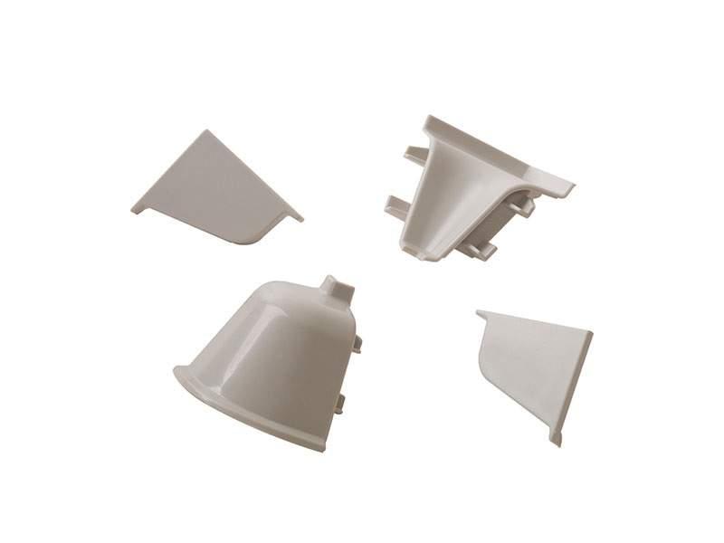 Комплект соединителей овального пристеночного бортика (2 заглушки, 90° внутренний, 90° внешний) пластик, светло-серый. VER0003/36