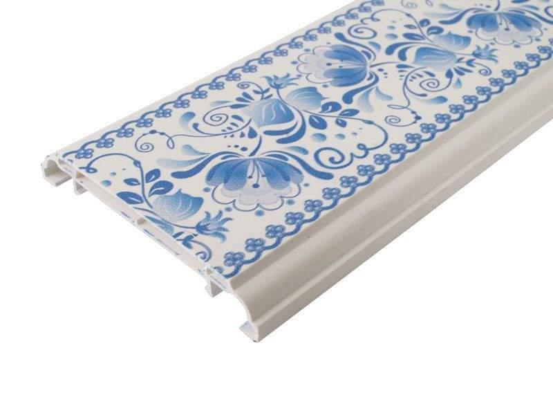 Наличник KNL N-75мм УФ-печать (Гжель) белый 3,0 м. KNL0010.07/2