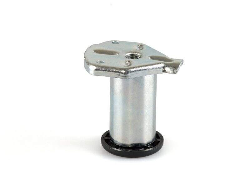 Ножка накладная регулируемая для шкафа H=60мм, пластиковым подпятником, сталь, замак. CAM0007