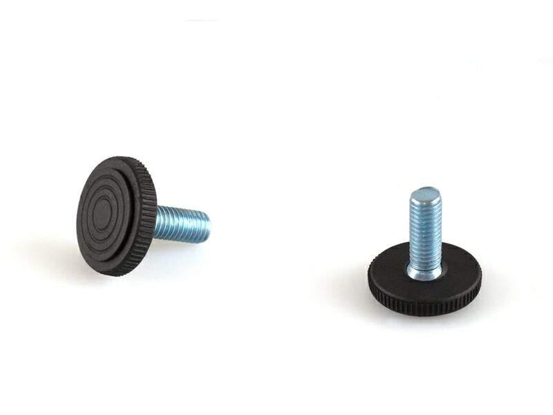 Опора с круглым пластиковым основанием, М6, L=20 мм, сталь, черный PI01. PRM0250